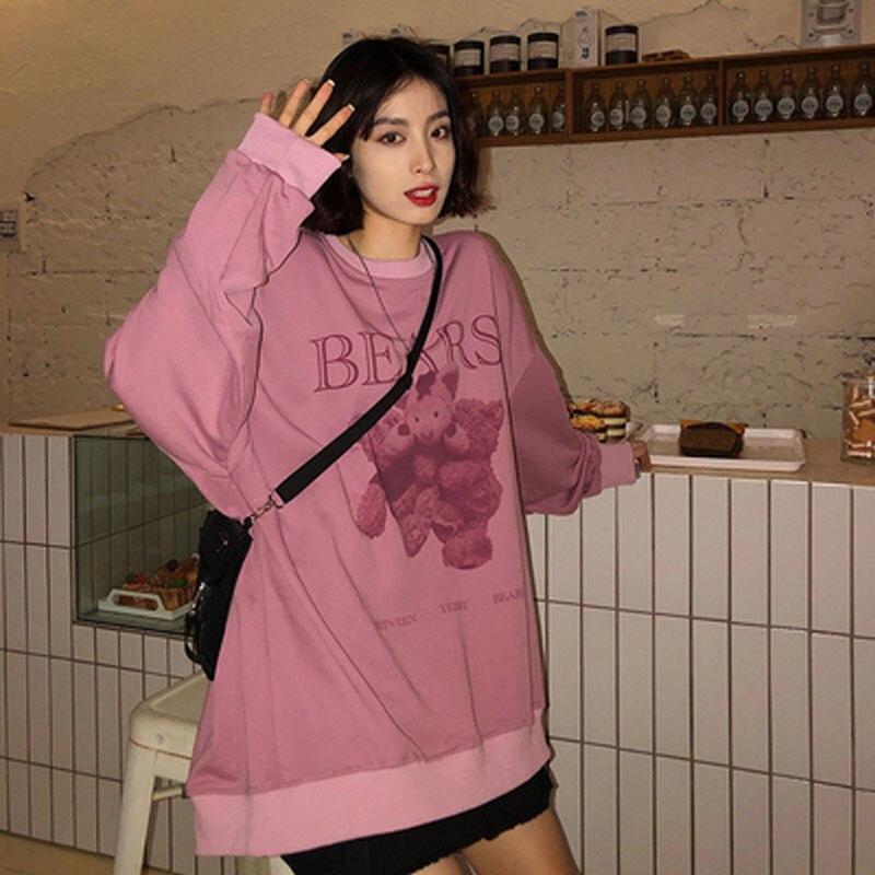 Women hoodie Big bear Pattern furry Hoodie Winter Warm Plush sweet Pullovers Woman Vintage korean Style loose Sweatshirt kawaii 8
