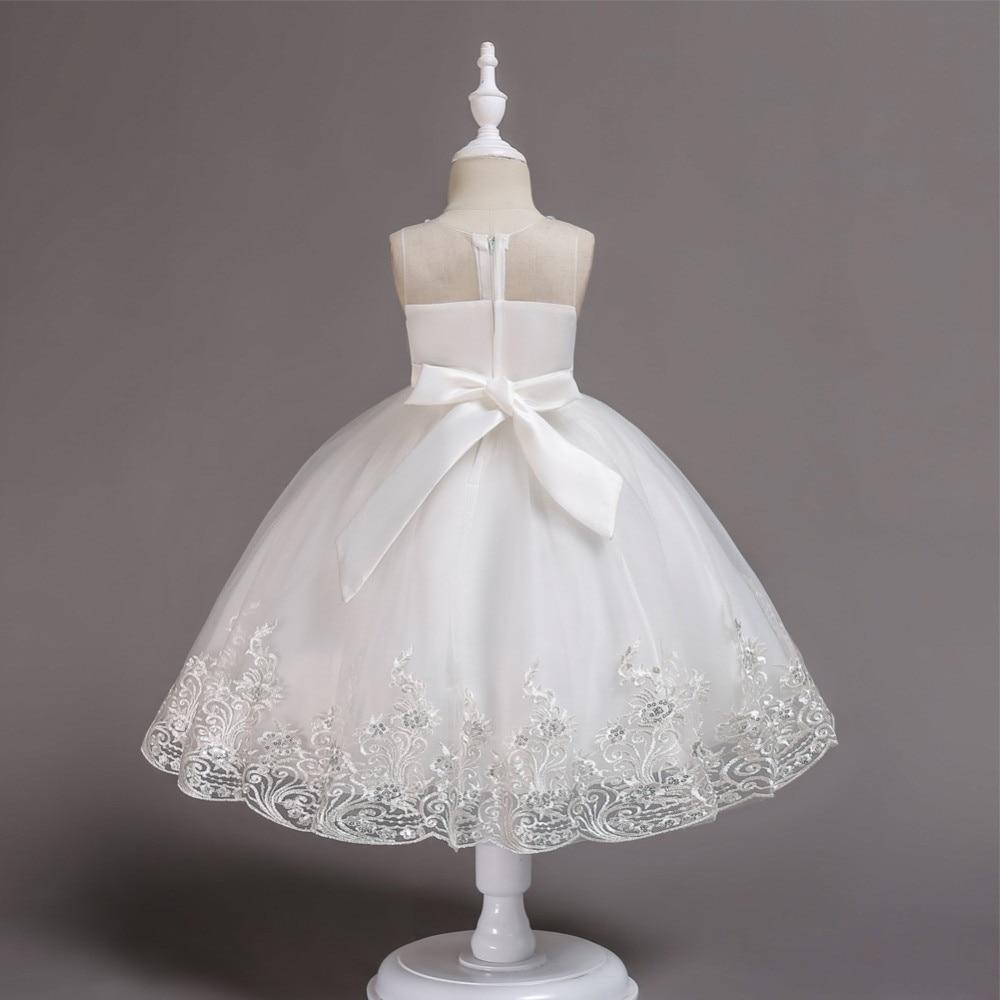 Flower Girl's Birthday Banquet Girls Tulle Dresses Lace Wedding Party White Flower Girls Dresses In Stock ??????? ??? ???????