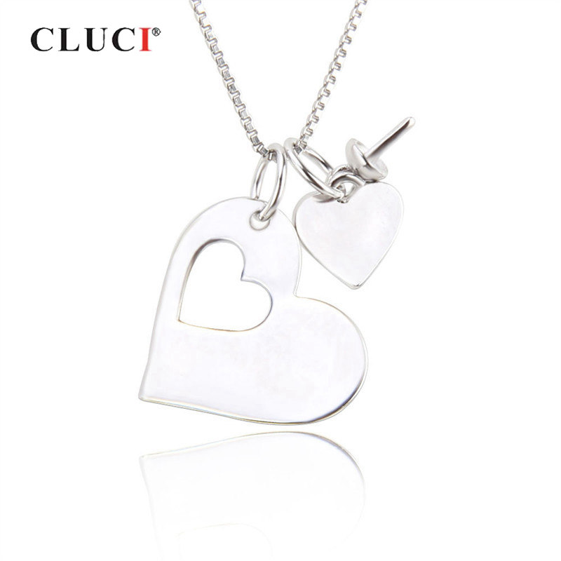 CLUCI 925 Sterling Silver Two Pieces Love Heart Pendant Women Real Silver 925 Heart Charms Pendant Jewelry
