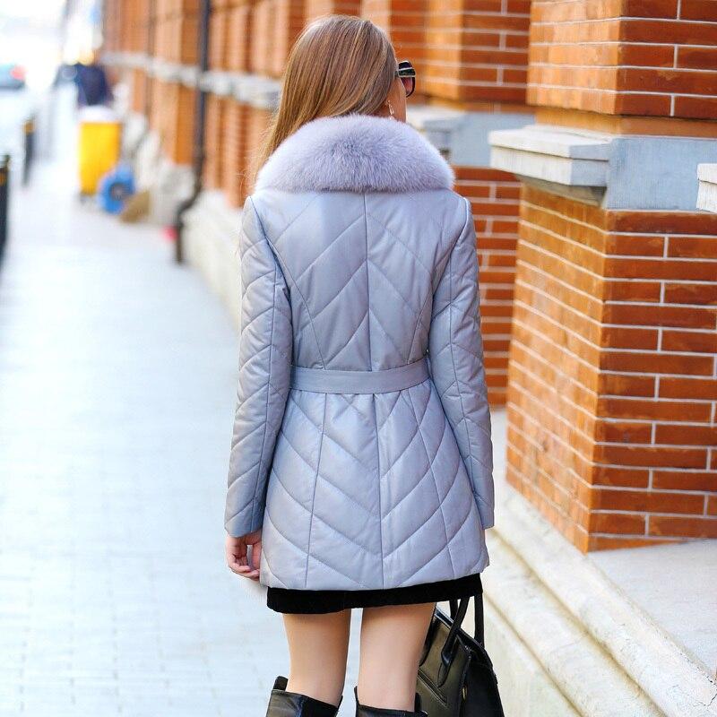 Coat Fur Real Female Genuine Leather Jacket Winter Jacket Women Fox Fur Collar Down Jackets For Women Sheepskin Coat MY S