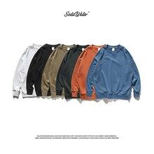 SODAWATER, мужские хип-хоп толстовки, японская мода, однотонный пуловер с круглым вырезом, толстовки, Осень-зима, базовая негабаритная мужская одежда 9603W