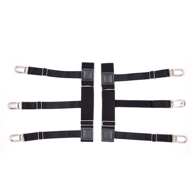 2Pcs Men Shirt Stays Garter Belt With Non-slip Locking Clips Suspender Garters Strap FEA889