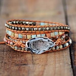 Image 2 - أساور جلدية اليدوية الأحجار الطبيعية Drusy سحر متعدد الطبقات أساور مطوية أساور بوهو اليدوية هدايا