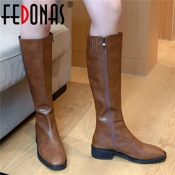 FEDONAS Concise Genuine Leather High Heels Women Vintage Knee Boots Party Prom Shoes Woman Winter Side Zipper Long - discount item  48% OFF Women's Shoes