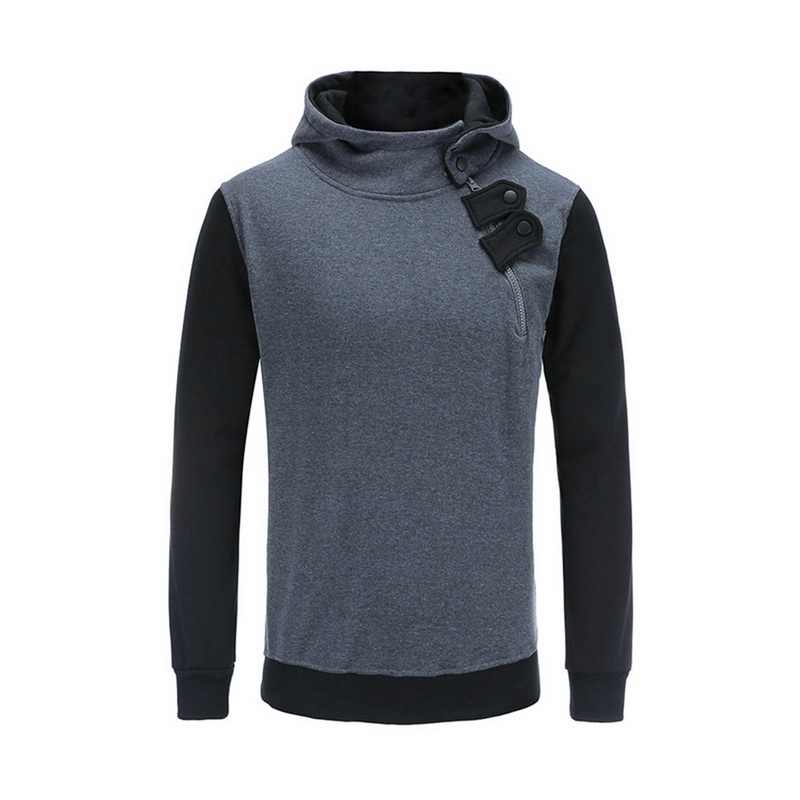 Loozykit 2019 Sisi Zipper Hoodies Pria Kapas Sweatshirt Autumn Patchwork Olahraga Slim Pullover Pakaian Latihan Yg Hangat Hip Hop Streetwear