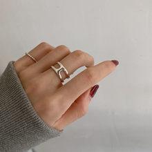 Aomu 2021 coreano do metal do vintage cor de prata anel aberto moda simples anéis geométricos para mulheres meninas festa jóias
