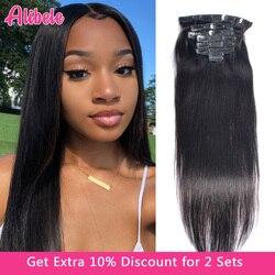 Alibele прямые накладные человеческие волосы на клипсе 120 г/компл. 10-24 дюйма натуральный цвет перуанские человеческие волосы Remy наращивание на ...
