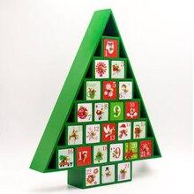 Рождественский деревянный календарь обратного отсчета расписанный Рождественский календарь c деревьями Конфета Подарочная декоративная коробочка стеллаж для ящика