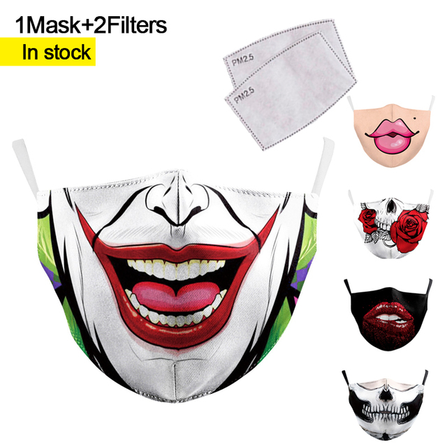Face Masks Mouth Adult Reusable Washable Fabric Mask Protective PM 2.5 Dust Mask Filter Paper