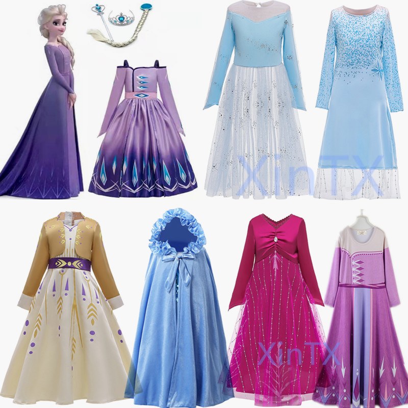 HOT!Elsa Dress 2 Kids Dresses For Girs Elsa Anna Costume Carnival Birthday Party Dress Toddler Girls Princess Dress Clothing