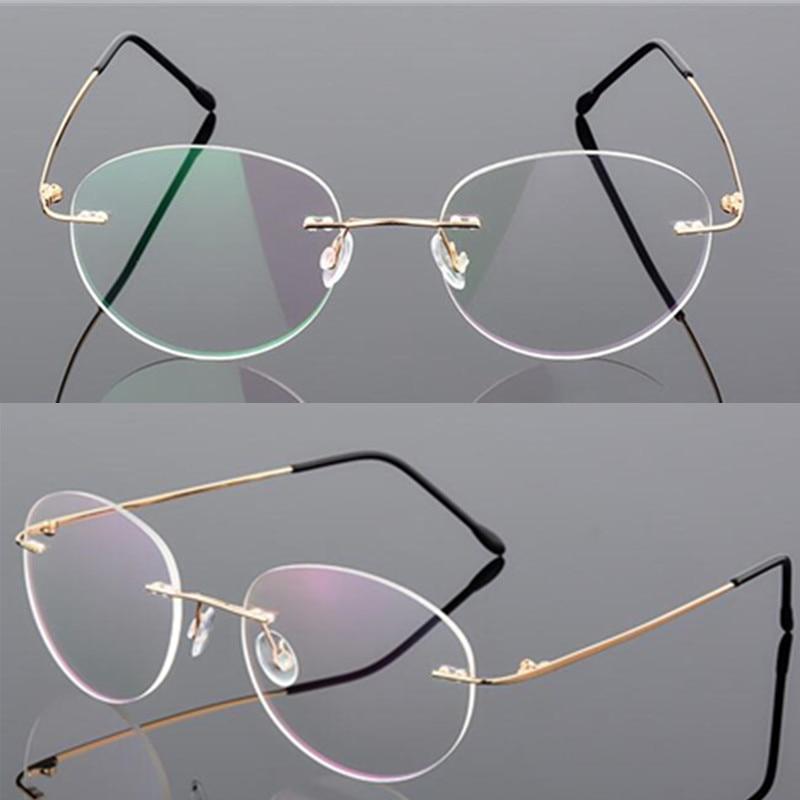 9 Color Retro Half Round Foldable Ultralight Memory Titanium Alloy Rimless Glasses Frame Men Prescription Myopia Optical Eyewear
