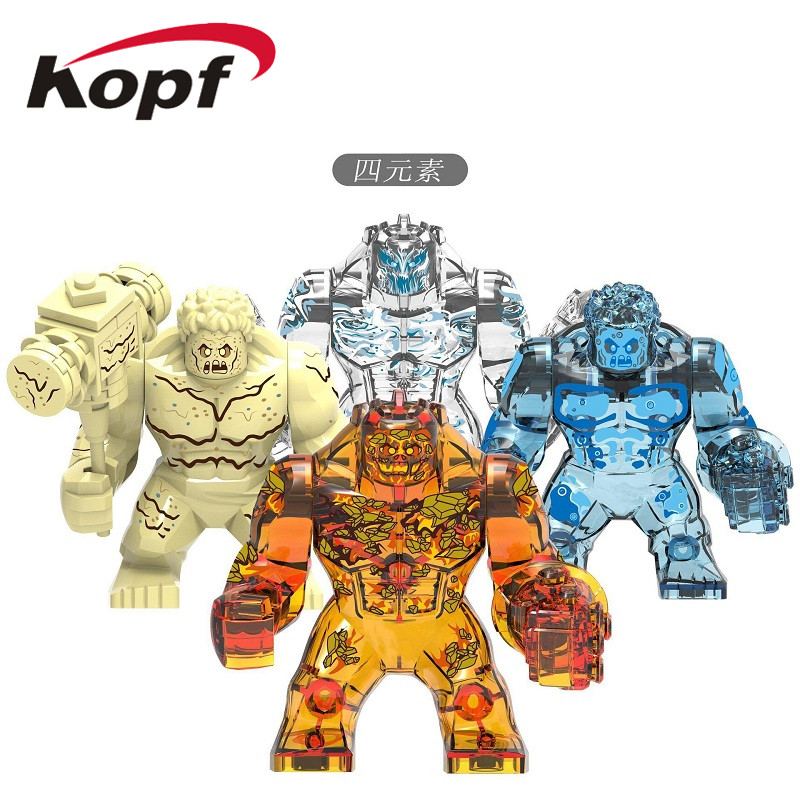 Super Heroe Single Sale Building Blocks Big Figures Four Elemental Fire Water Earth Wind Element Bricks ActionFor Kids Gift Toys image
