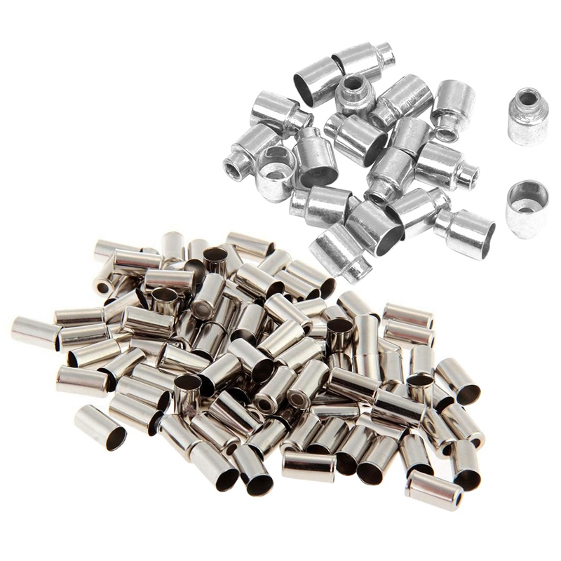 SEWS-20 Pcs Bike Bicycle Brake Cable Housing End Cap Ferrules & 100Pcs Gaines Cable Cap Fixing Brake Speed 5mm Metal Silver For