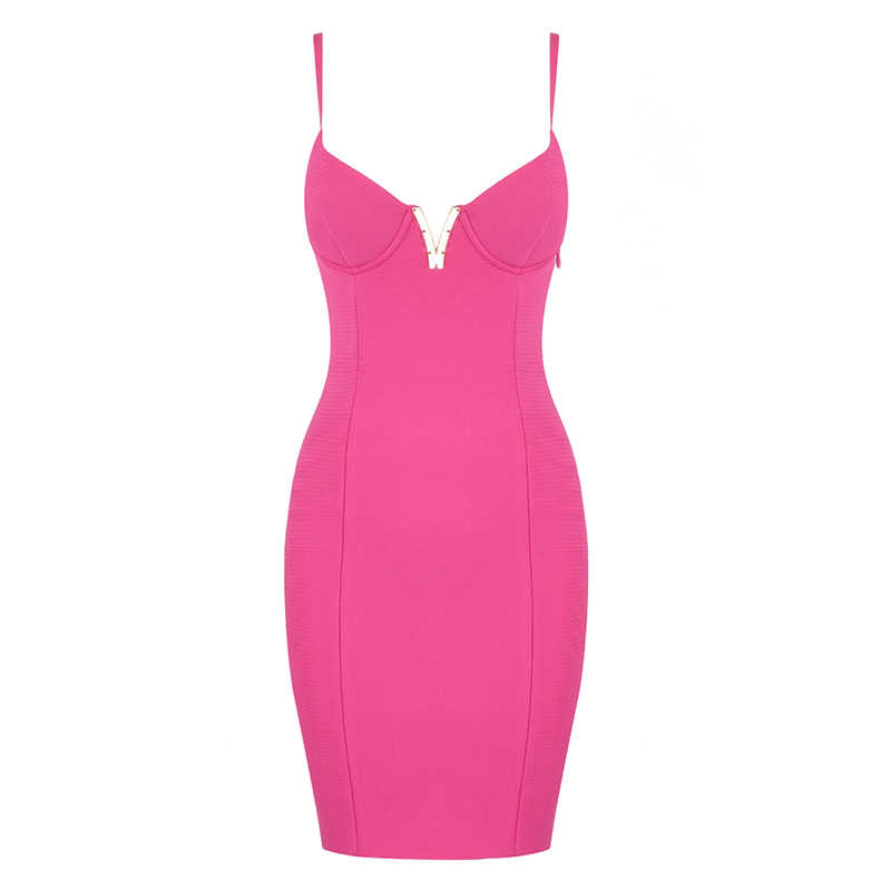 شحن مجاني Bodycon ضمادة اللباس Vestidos فيرانو 2019 مثير V الرقبة الأخضر الوردي الساخن حزب اللباس Clubwears