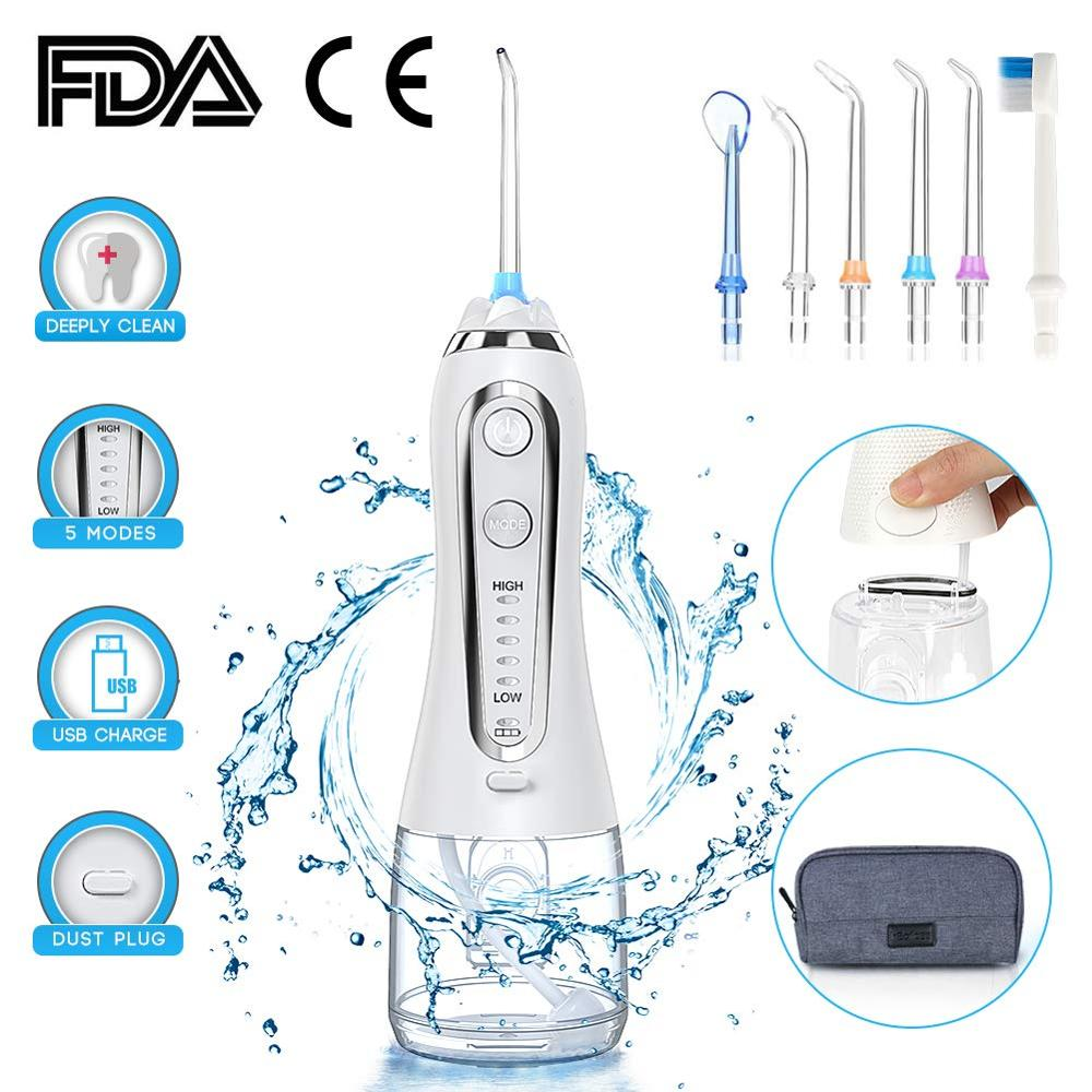 300ml Portable Oral Irrigator 5 Mode Dental Water Flosser Jet USB Rechargeable Water Floss Irrigator Dental Teeth Cleaner+5 Tips