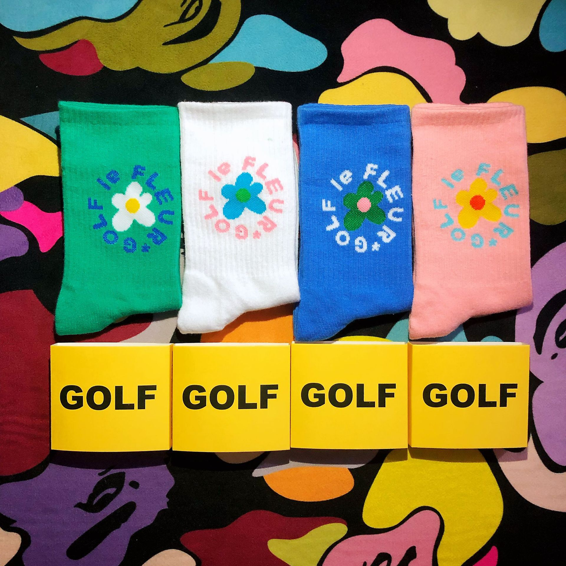 Freeshipping Adult Mid Calf Crew Golf Flower   Socks   Circling around Feet High 2020 New Fashion Street Comfort Foot Elastic Cotton
