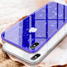 Tempered glass Case For Apple 6 6S 7 8PLUS X XR XS MAX Shell pattern glossy soft edge Back Cover(China)