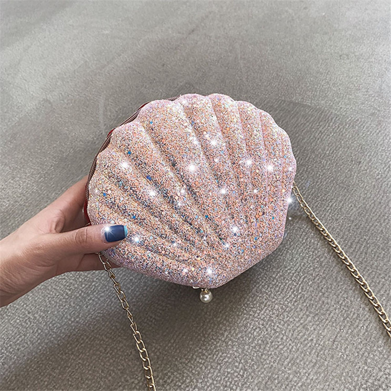 Sequin Shell Women's Shoulder Bags Chains Crossbody Bag Pearl Zipper Messager Bag Shiny Lady Summer Purses Small Sac 2019 INS