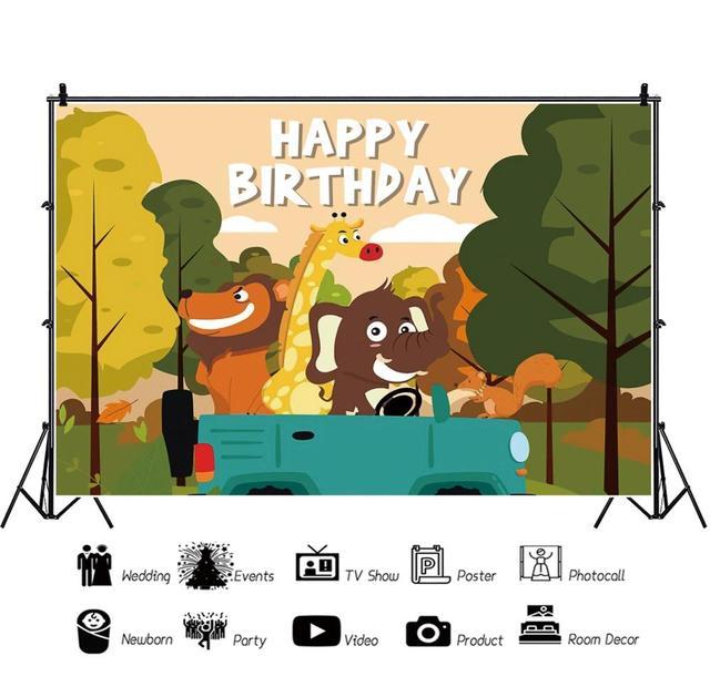 Фото осень мультфильм лес дерево для вечеринки в стиле сафари дикие
