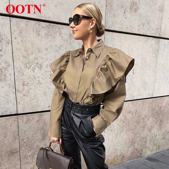 Ootn blusa feminina de manga longa, elegante cáqui, babada, para escritório, com botão, para moças, de algodão, para primavera e outono