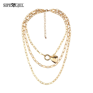FASHION Multilayer necklace Vintage Thick Chunky Chain Choker Multilayer Heart Necklaces Jewelry