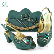 Ladies Shoes Lastest Party D.green-Color Elegant Italian-Design And No Fashion for Bag-Set