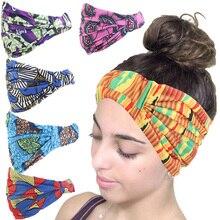 African Print Stretch Cotton Headband For Women Elastic Headwear Turban Head Scarf Lady