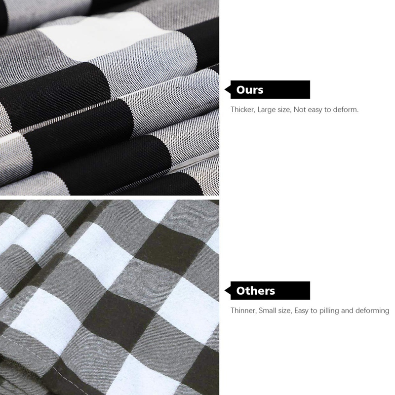 14 X 108 Inch Buffalo Check Table Runner Cotton-Polyester Blend Handmade Black And White Plaid For Family Dinner, Outdoor Or Ind