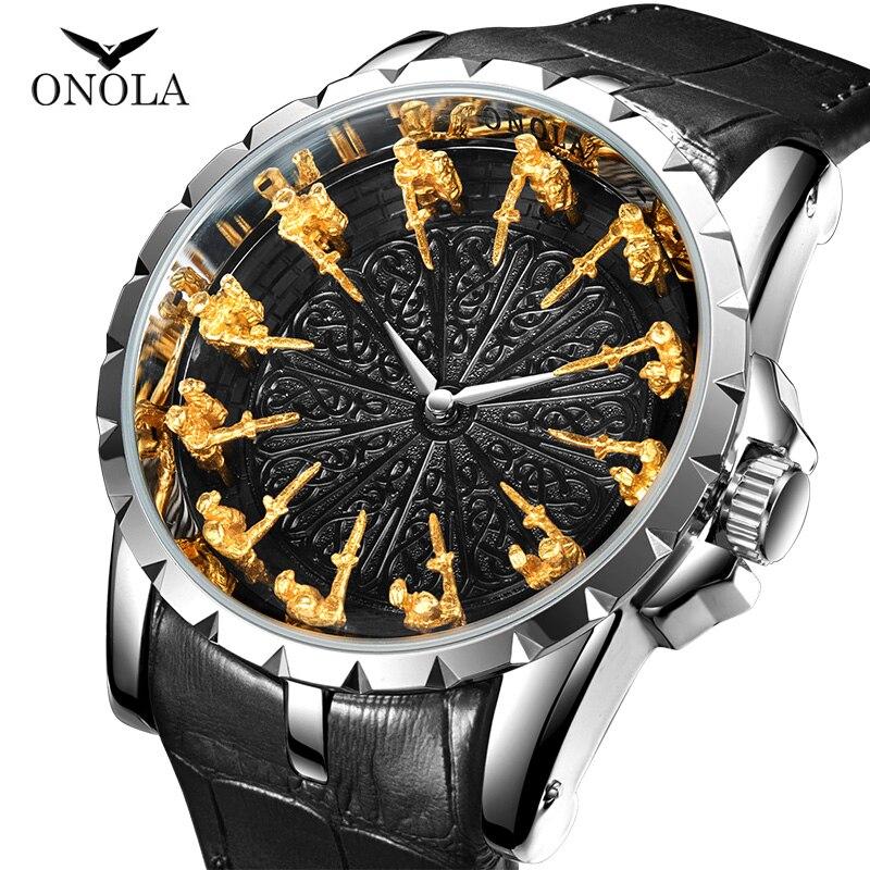 ONOLA уникальные брендовые кварцевые часы для мужчин 2019 Роскошные розы кожаный ремешок золотистого цвета для наручных часов модная повседнев...