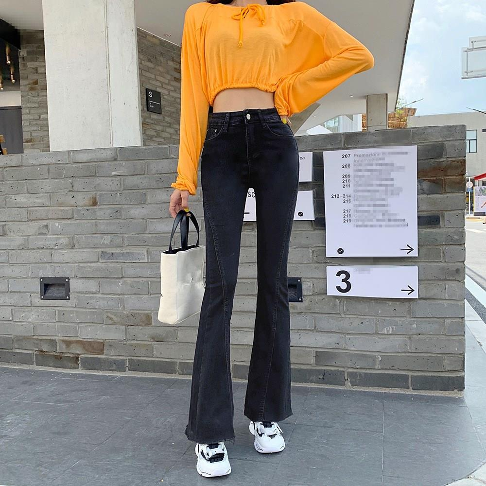 Nice Women Skinny Denim Pants High Waist Jeans Autumn Tide Stretch Slim Trousers Flare Pants Casual Long Jean