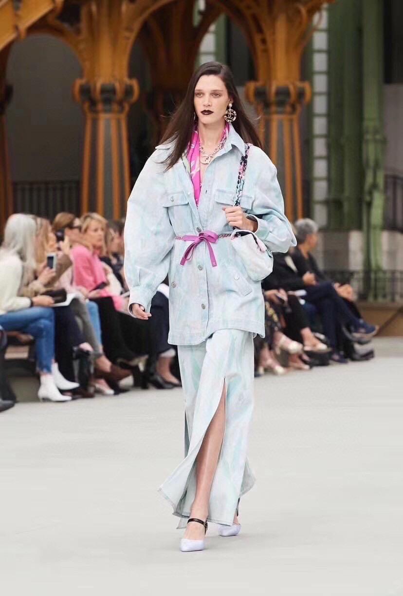 High Quality 2020 New Runway Fashion Denim Suits Women Lining Print Belt Jacket + Long High Waist Split Pants Light Blue Suits