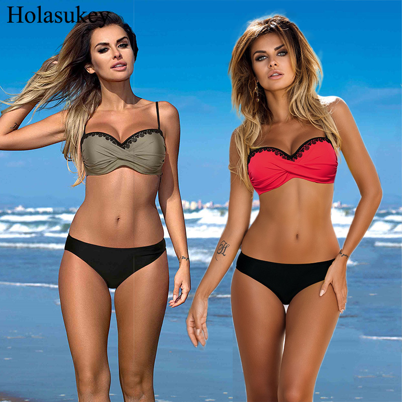 Solid Bikinis Women Push Up Bikini Set Sexy Lace Up Bordered Swimsuit Plus Size Bathing Suit Female Swimwear Beachwear Biquini