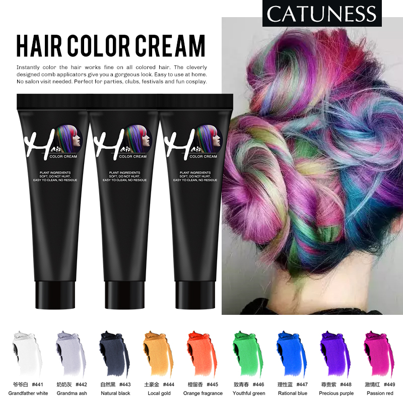 Catuness Hair Dye Temporary Hair Color Wax Temporary Dye Disposable Dye Cream Hair DIY Design Hair Coloring Styling Silver Grey