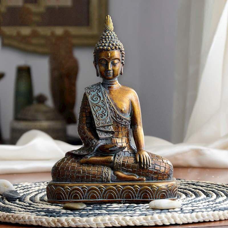 Vintage Bronze bouddha Statue thaïlande bouddha Sculpture hindou Fengshui Figurine méditation Miniature décoration de la maison accessoires