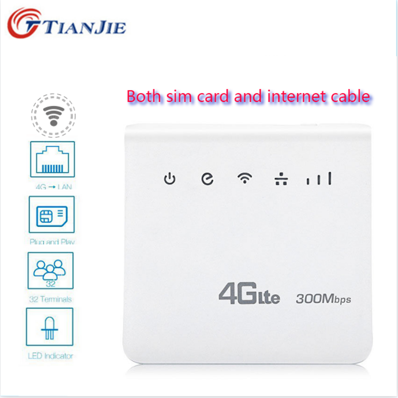 Unlocked 4G LTE CPE Wifi Router Internet Cable Home Router 300Mbps wi-fi Wireless Modem RJ45 LAN Port Dongle with SIM Card slot image