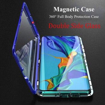 360 Magnetic Adsorption Metal Case For Huawei P40 P30 P20 Mate 30 20 Honor 20 Pro 10 Lite 9X 8X P Smart 2019 Nova 5T 7 Cover diamond case for huawei p30 p20 pro lite cover for huawei mate 20 pro honor 10 20 8x 9x nova 3 5 4 e glitter ring holder cases
