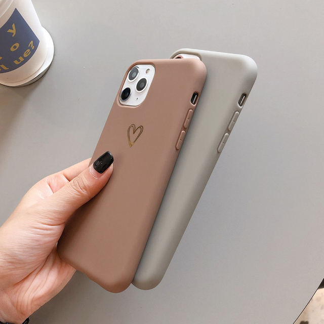 Gold Love Heart Phone Case for IPhone12 Pro Max XR 7 6 8 Plus Solid Color Cover for Iphone11promax Xs Max Soft TPU Mini Capa 6