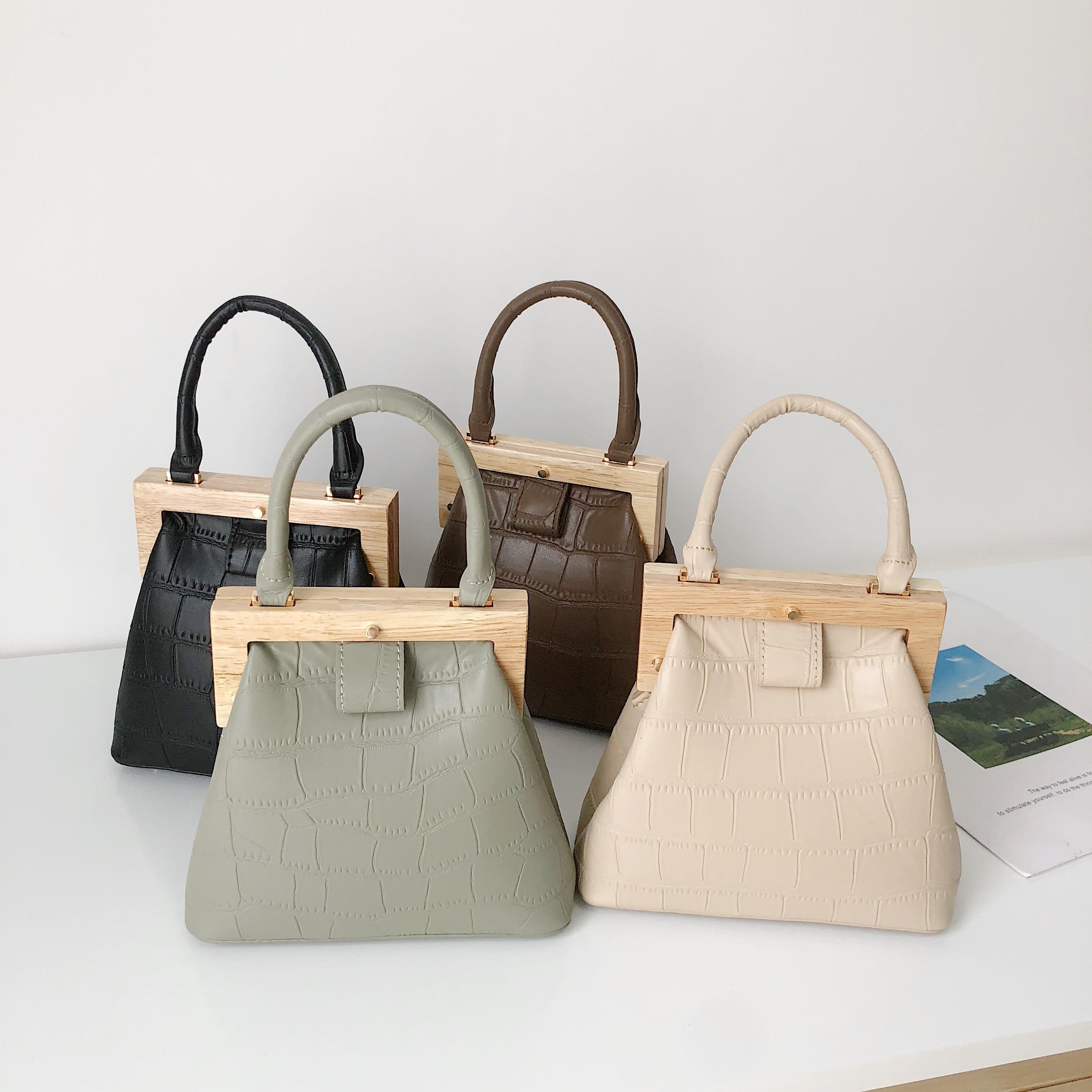 Vintage Wooden Clip Women Handbags Designer Shell Shoulder Bags Luxury Alligator Pu Leather Crossbody Bag Lady Small Purses 2020