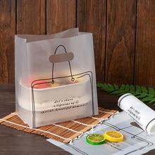 50 pçs saco de mão de plástico padaria assar biscoitos pastelaria nougat comida takeaway embalagens sacos