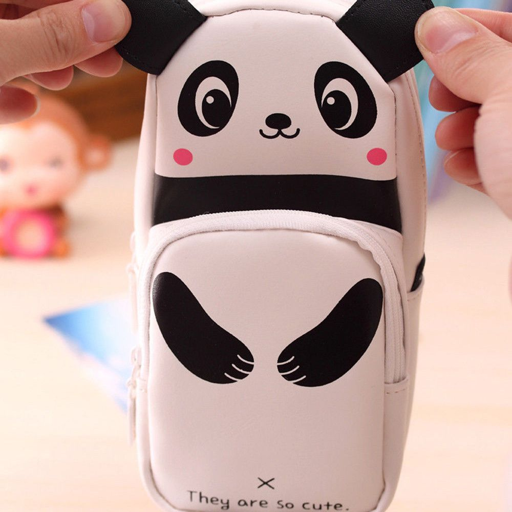 1PCS Cute Panda Large Capacity Pen Pencil Case Pen Box School Stationery Cosmetic Bag Geometry Pencil Bag School Office Supplies