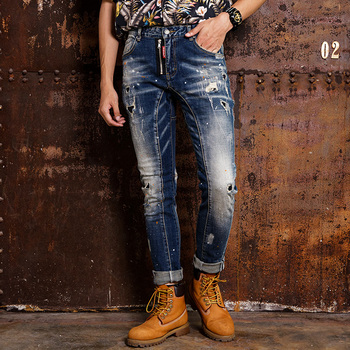 Fashion Streetwear Men Jeans Autumn Newly Designer Ripped Spliced Destroyed Denim Pants Elastic Hip Hop Homme