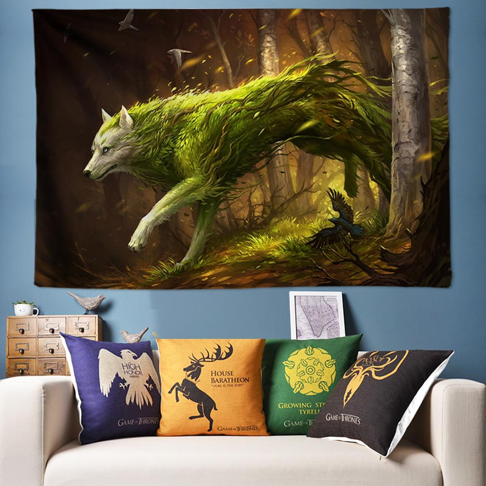 Large Multi-Function Tapestry 3D Wolf Wall Tapestry Dorm Decor Wall Hanging Bed Sheets Tapisserie Murale Wall Cloth tapiz pared image