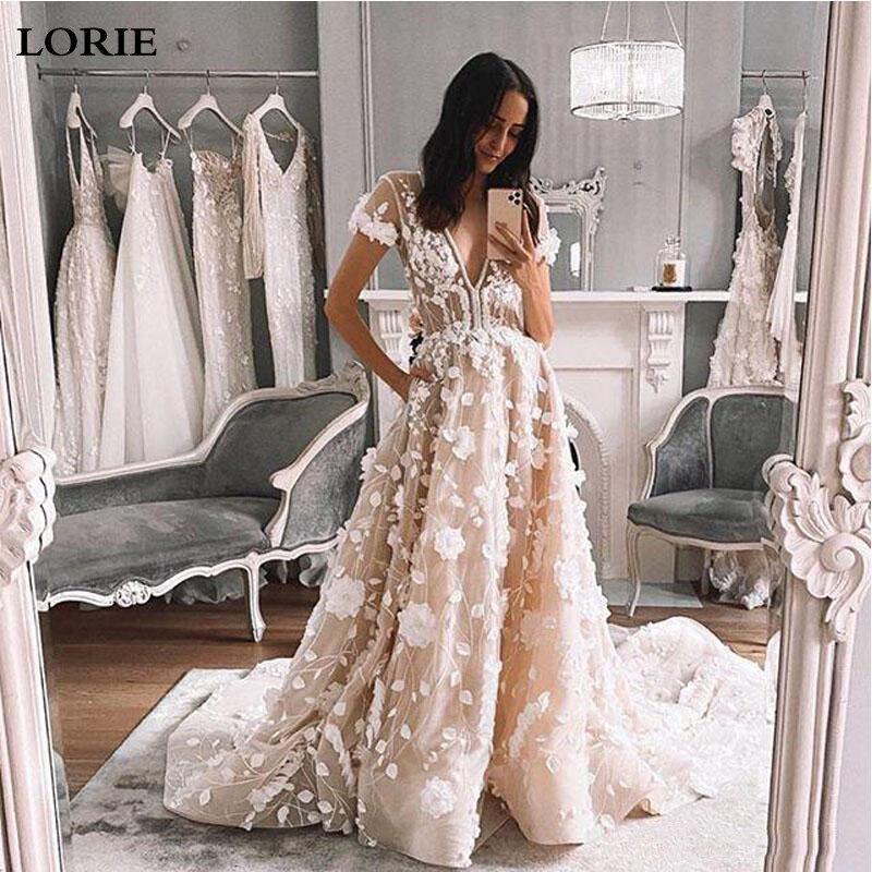 LORIE Short Sleeve Wedding Dress 2020 With 3D Flowers V Neck Lace Bridal Dresses Wedding Gowns Vestidos De Novia