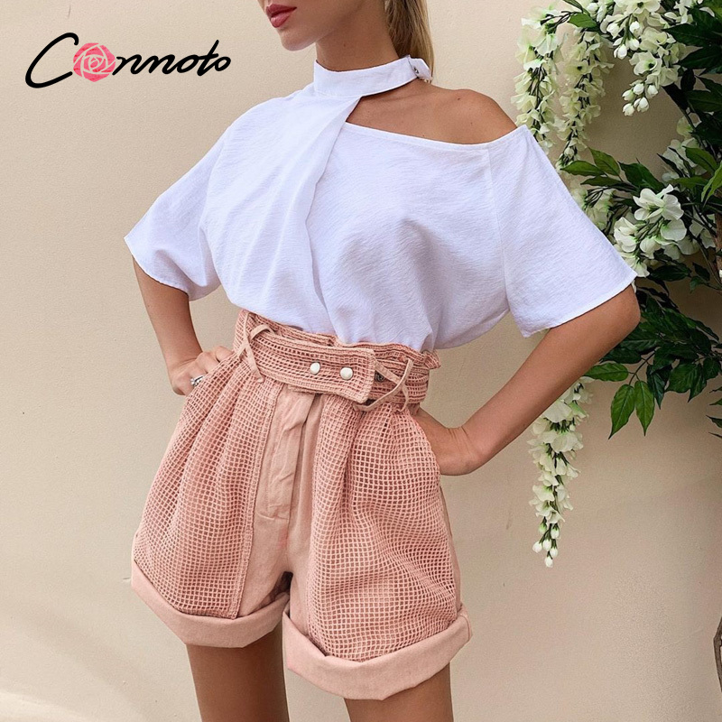 Conmoto Summer Elastic High Waist Women Shorts Pink Pockets Shorts High Fashion Casual Cotton Grid Patchwork Solid Shorts