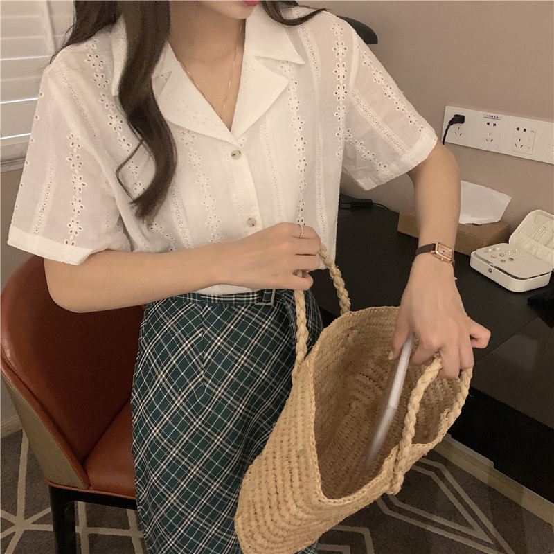H2145d4eda7594f3197edac750f483bfa5 - Summer Notched Collar Short Sleeves Embroidery Solid Buttons Blouse
