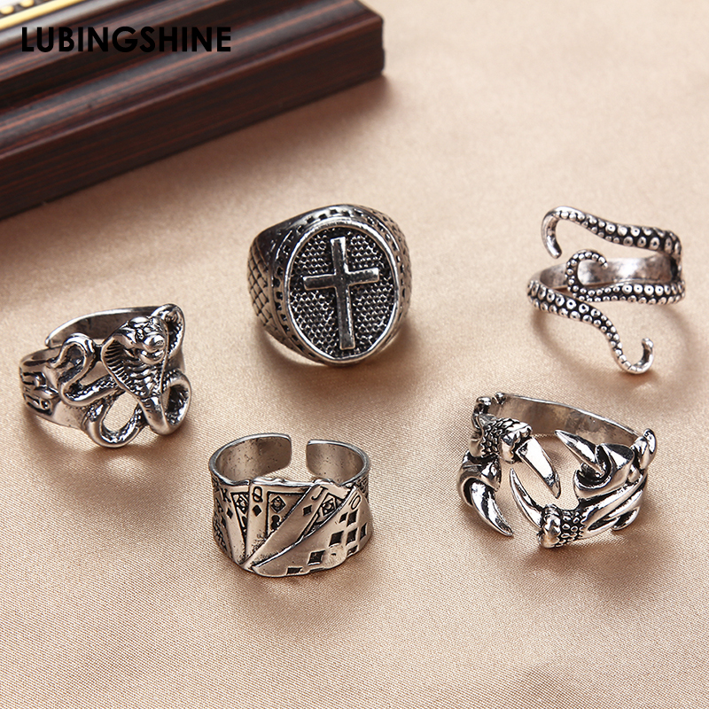 Retro Punk Women Men Rings Gothic Squid Octopus Ring Vintage Cross Dragon Claw Snake Rings Halloween Anillo Hombre Bijoux Gift