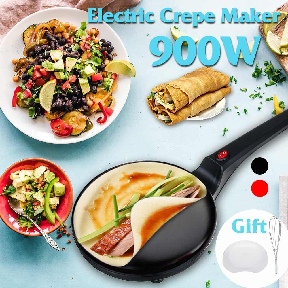 900W 220V Non-stick Electric Crepe Pizza Maker Pancake Non-stick Griddle Baking Pan Cake Machine Kitchen Cooking Tools Crepe
