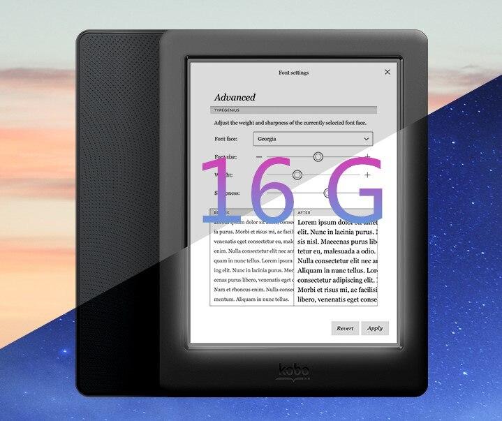 Новая электронная книга Kobo glo HD 300PPI Rreader book E-Ink, 16 ГБ, Wi-Fi, HD 1448x1072, сенсорный экран