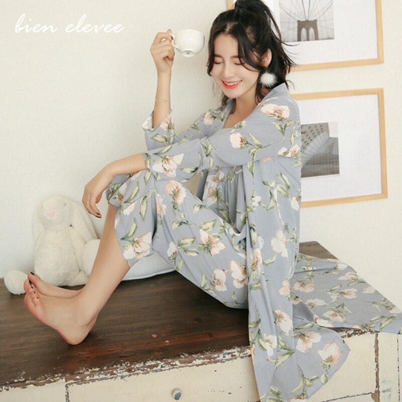 Женский пижамный комплект, костюм для сна, нижнее белье с длинными рукавами, 3 предмета, домашняя одежда с цветочным принтом, пижамы для женщ...
