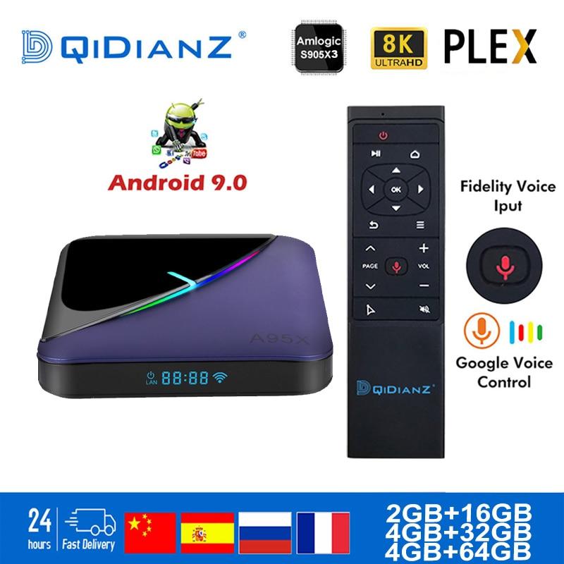 Smart TV BOX A95X F3 Android 9.0 RGB Light TV Box Amlogic S905X3 8k Netflix Plex Media Server Set Top BOX A95XF3 PK HK1MAX H96